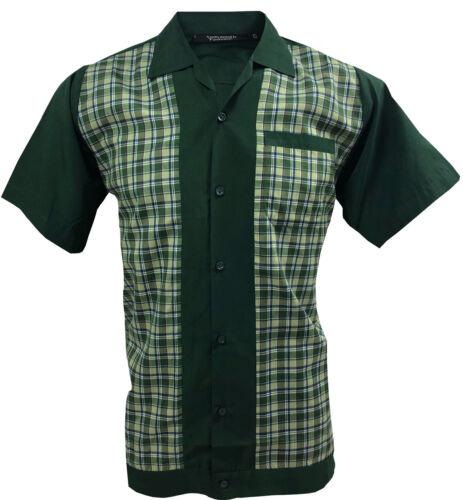 Retro Fashions Men/'s Short Sleeved Shirt Revival Vintage 1960s Green Checked
