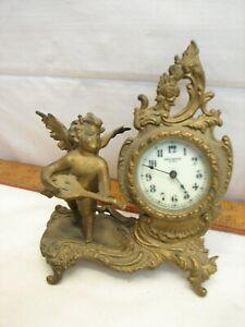 Antique New Haven Brass Victorian Shelf Mantle Clock Ornate Cherub Garniture