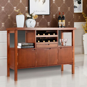 Image Is Loading Wooden Buffet Server Table Storage Cabinet W Wine