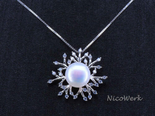 Perlenkette Schneeflocke Mit stein Zirkonia Weiß Echte Perlen Zuchtperlen Kette