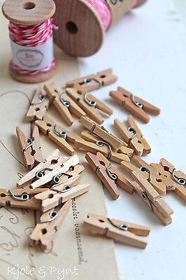 5//10//25x Stück Mini Holzklammern Natur Deko Basteln kleine Wäscheklammern