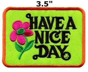 Have a Nice Day 70s hippie retro boho weed love applique Hook patch new S-304