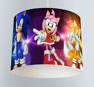 Image Is Loading Sonic The Hedgehog 021 Boys Bedroom Drum Lampshade