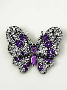 Vintage-Butterfly-Brooch-Pin-Purple-Sparkly-Rhinestone-Marcasite-Pewter-Tone