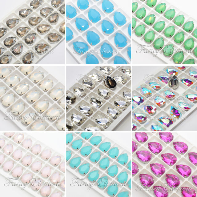 24pcs Glass Pear 4320 18x13mm Crystal Metal Plate Mix Color Sew On Rhinestones