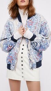 Free-People-Printed-Bomber-Jacket-Floral-Sporty-Tennis-Style-Navy-Blue-OB548451