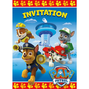 Image Is Loading PAW PATROL INVITATIONS 8 Birthday Party Supplies Chase