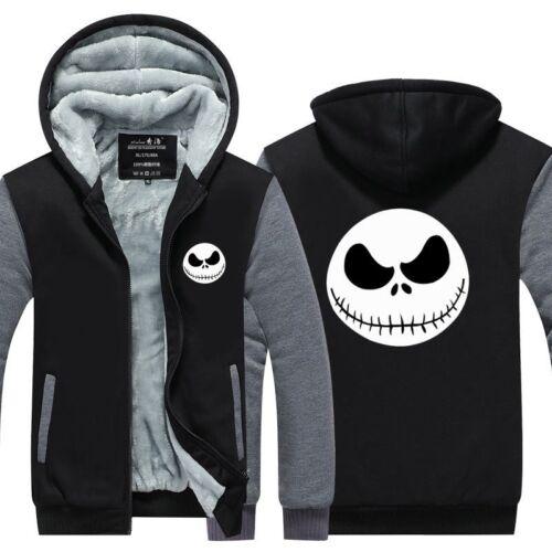 Jack Skellington Winter Thick Hoodies Zipper Jacket Sweatshirt Coat