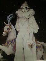 1987 Scandecor Mira Fujita Harlequin Pierrot Wall Poster Pbx510