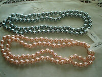Linda Dano Pink And Blue/gray Strands Of Faux Pearls Each Is 34 L Tags Attached