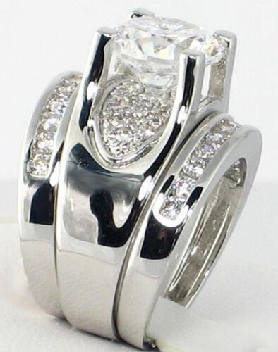 Bold Bridge Round 3.12 CT Cubic Zirconia Bridal Wedding 3 PC Ring Set SIZE 5
