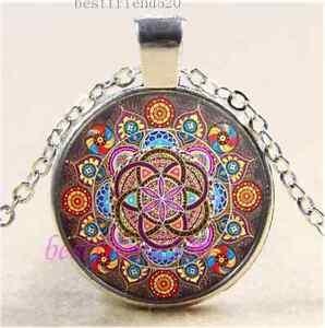 Vidrio-Cabujon-de-foto-Mandala-Tibet-Plata-Cadena-Colgante-Collar