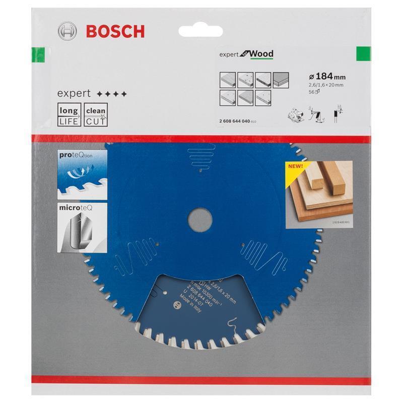 Bosch Hm-Sägeblatt 184x2,6x20 Z56 2608644040 Expert for Wood, für Handkreissägen