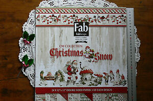 CHRISTMAS-SNOW-12x12-Pk-24-Dbl-Sided-Papers-3-of-each-8-designs-by-Fab-Scraps