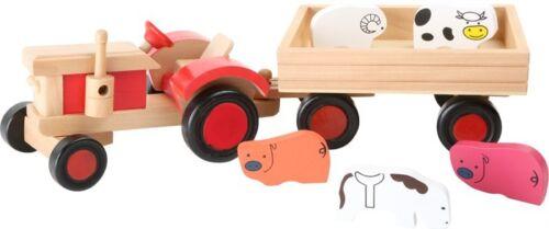 Traktor mit Tiere Bauernhof Auto Anhänger Bulldog aus Holz Spielzeug für Kinder