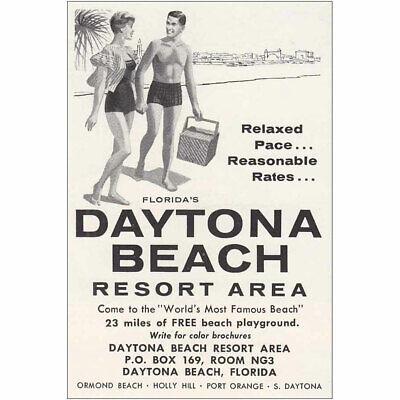 1960 Daytona Beach Florida Resort Area Relaxed Pace Vintage Print Ad