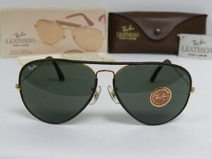 448286710e8 New Vintage B L Ray Ban Large II Metal Leathers Brown Gold L1645 ...