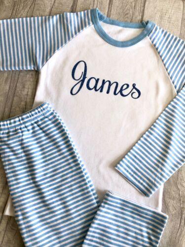 Personnalisé Pyjamas anniversaire Pj /'s Gift Custom paillettes Nom Bleu Et Blanc Pyjama