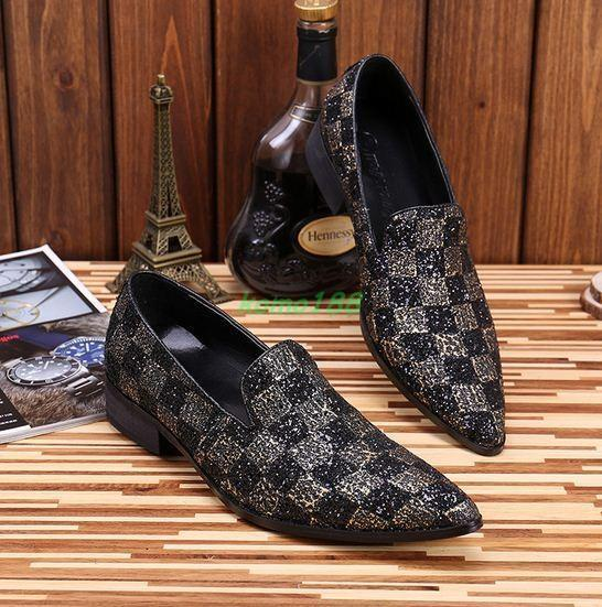 Mens Dress Formal shoes Party Slip On Sequins Pointed Toe leather Club Loafer SZ