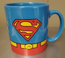 DC Comics Superman Flying Figure and Logo Blue 14 oz Ceramic Coffee Mug UNUSED