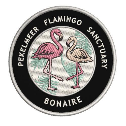 "Bonaire 3.5/"" Iron//Sew On Decorative Patch Flamingos Pekelmer Flamingo Sanctuary"