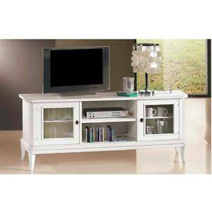 Mobile arredo porta televisore tv legno massello basso design classico bianco 4 ebay - Mobile porta tv classico legno ...