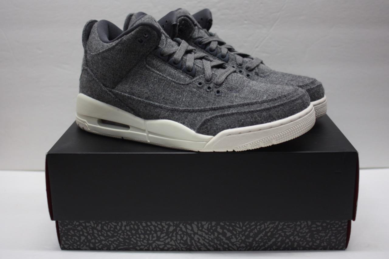 Nike Air Jordan 3 Wool Dark Grey Sail 854263-004 Size 10