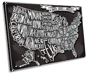 United States Map Canvas Wall Art.United States Of America Map Single Canvas Wall Art Framed Print Ebay
