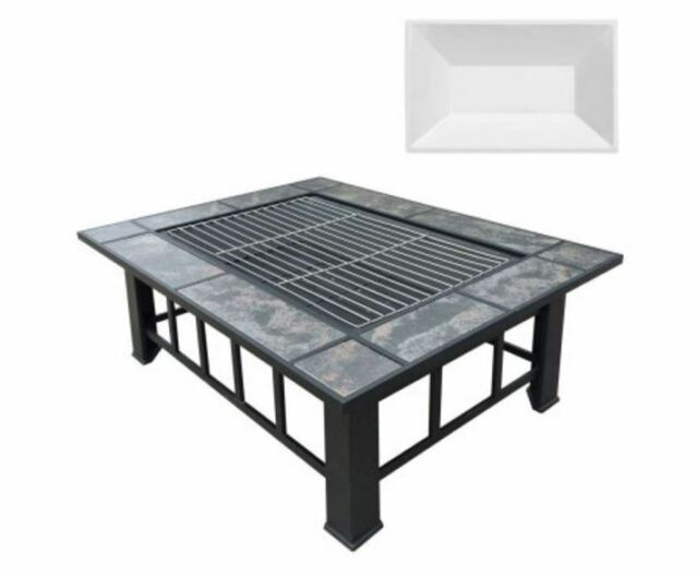 NEW OUTDOOR FIRE PIT BBQ TABLE GRILL FIREPLACE W/ ICE TRAY CAMPFIRE BARBECUE
