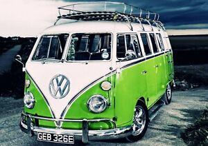 VW CAMPER VAN BUS POSTER PRINT PICTURE Volkswagen Beetle Split Screen