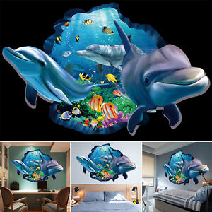 Removable-Dolphin-3D-Wall-Decal-Sticker-Art-Mural-Vinyl-Home-Ceiling-Room-Decor