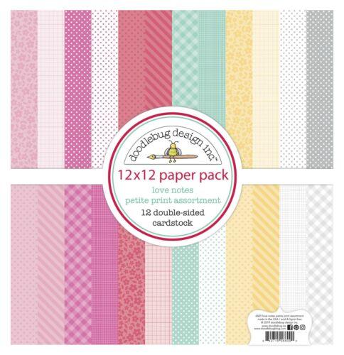 "New Doodlebug 12/"" x 12/"" Paper Pack Love Notes Petite Print Assortment"