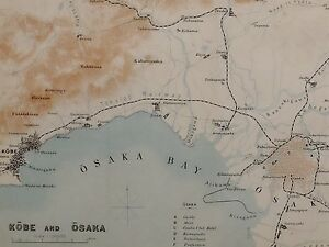 1907 Japan Japanese Tourist Map Kobe Osaka Bay Sakai Castle Mint