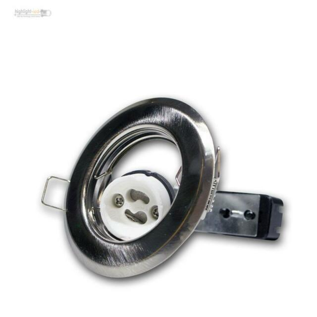10 GU10 Spot Encastré Chrome-Mat Luminaire à Encastrer Gu 10 230V Couvrir