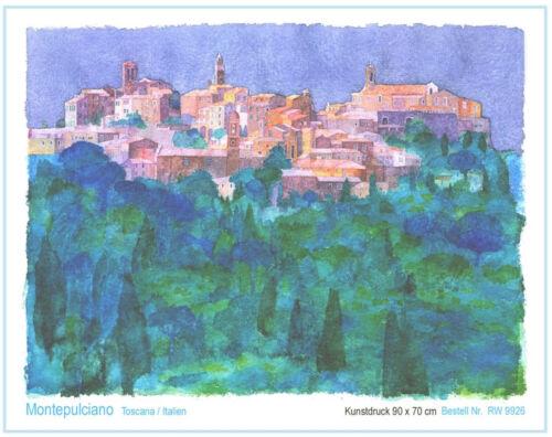 Toscana Bild 90 x 70 cm Aquarell Kunstdruck Italien Westphal Montepulciano