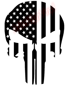 Punisher-Flag-Support-Troops-Glass-Vinyl-Decal-Sticker-Car-Truck