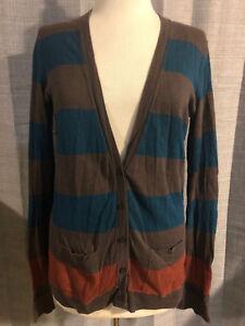 Womens-Madewell-WALLACE-Brown-Teal-Orange-Stripe-Cardigan-Sweater-Small-E31