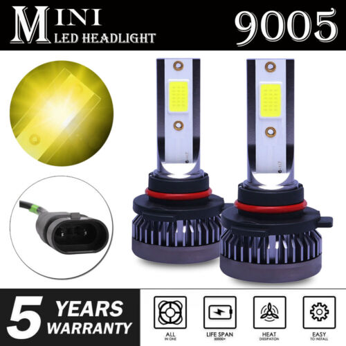 9005 HB3 Mini LED Headlight Bulb 3000K 1600W 260000LM Yellow Hi Beam Front Light