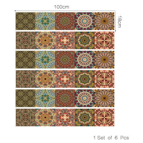 6Pcs 3D Stair Riser Staircase Stickers Mural Vinyl Wall Tile Decals Wallpaper