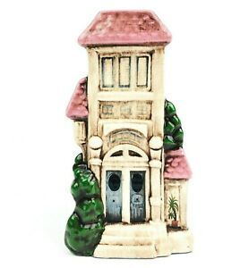 Vintage-Ceramic-Art-Vase-Victorian-Row-House-Pink-Roof-Home-Decor