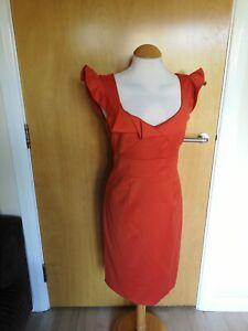 Ladies-NOUVEAU-Dress-Size-Orange-Wiggle-Pencil-Office-Work-Day-Party