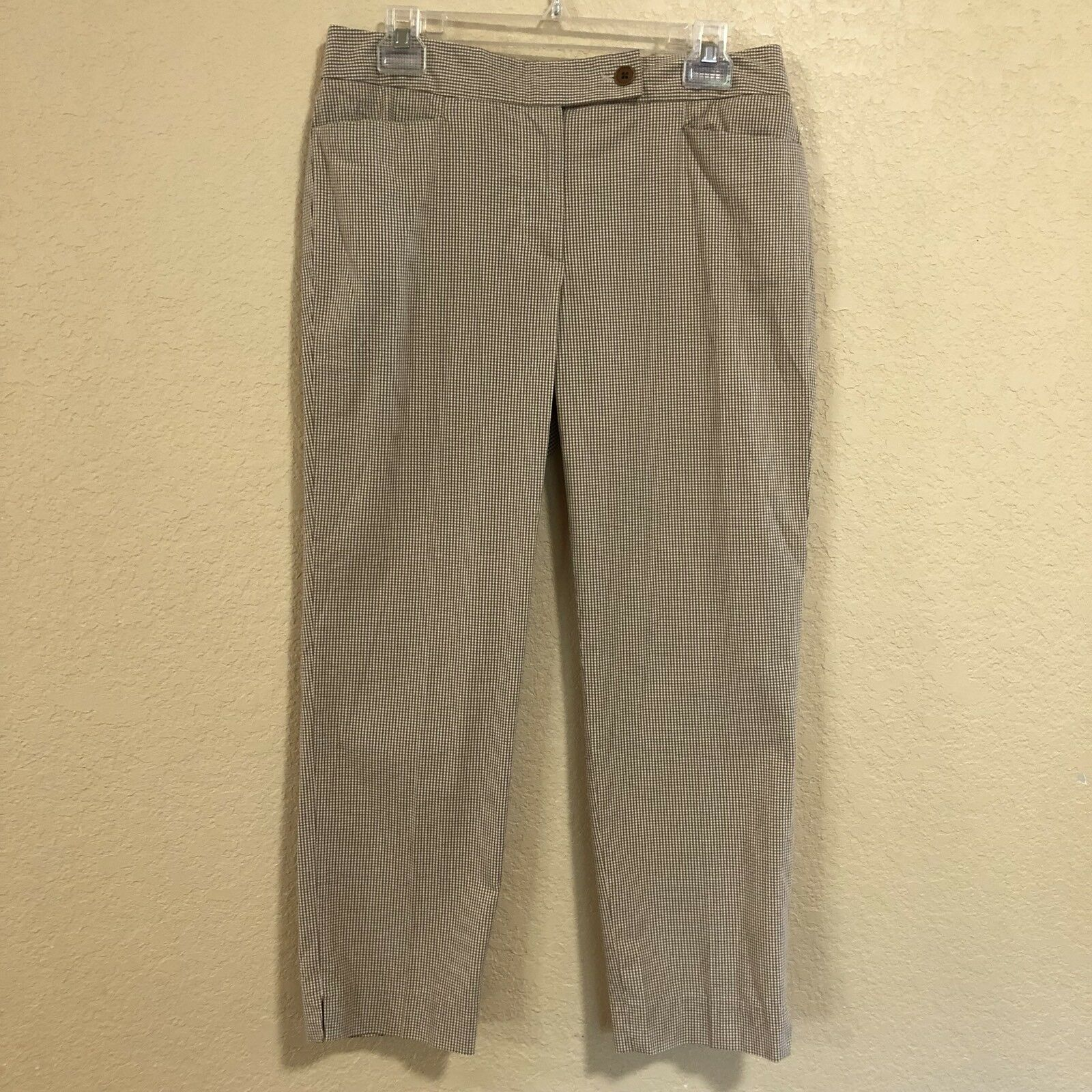 Talbots Size 6 Tan & White Gingham Signature Fit Crop Pants Capris Plaid Summer