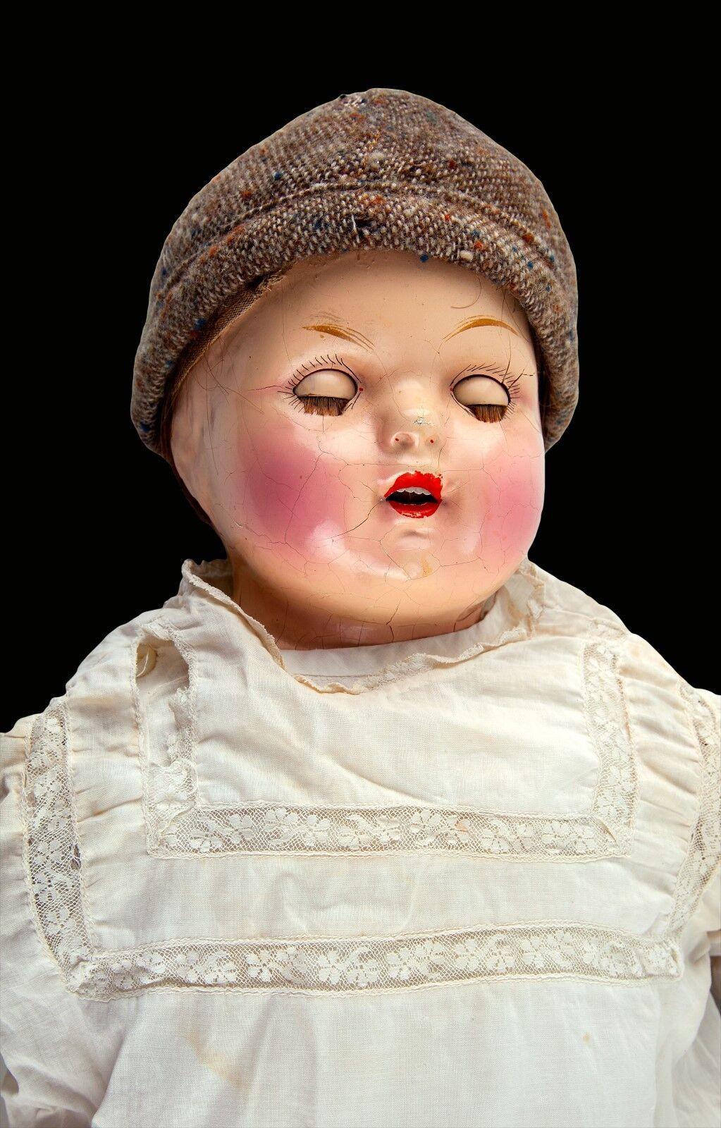 Vintage antiguos 24  sin marcar composición Bebé Muñeca – cuerpo suave & Sleepy ojos