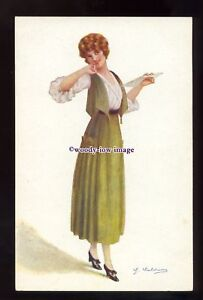 gla0110-Young-Woman-in-Green-with-Cheeky-Grin-Artist-not-sure-postcard