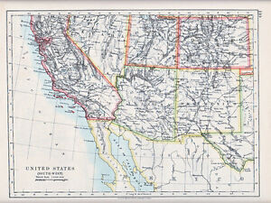 1912 MAP ~ UNITED STATES ~ SOUTH WEST CALIFORNIA UTAH NEVADA NEW ...