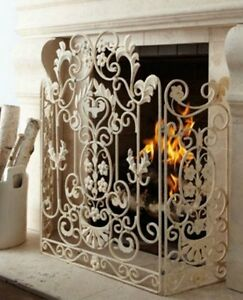 NEW Neimanmarcus Shabby Floral CHIC SCROL Antique White Fireplace ...