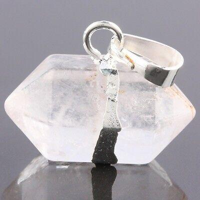 Rock Quartz Stone Healing Chakra Crystal Gemstone Prism Point Silvery Pendant