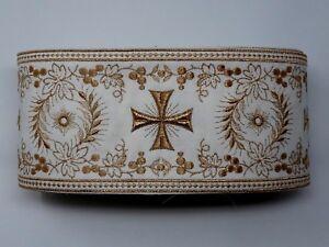 Orphrey-Vintage-Cruz-Oro-Cojos-Encendido-Apagado-Blanco-Banda-11-4cm-Ancho-12-8m