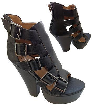 Para mujeres Zapatos tacón alto cuña de división de Bloque Hebilla Correa Opentoe Fetiche Gótico Damas