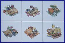 6 Fliesen, Kacheln mit Käse und Wein in 15x15cm als Küchenfliesen bzw. aufhängen
